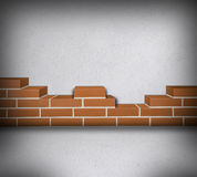 Room with partially built brickwall Stock Images
