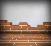 Room with partially built brickwall Royalty Free Stock Images