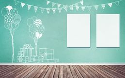 Room with party sketches and frames mock up. 3d rendering illustration of room preparing for party, baby showers, birthday. Nice chalk sketches of gifts Royalty Free Stock Images