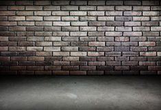 Room perspective,brick wall and cement ground,grunge stock illustration