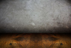 Room perspective,cement wall and wooden ground,grunge Stock Photo