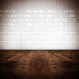 Room perspective, white ceramic tile wall and hard wood ground stock photography