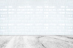 Room perspective, white ceramic tile wall and stone ground royalty free stock photos