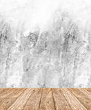 Room perspective - White rough Cement wall and wooden floor ,cle Royalty Free Stock Photo