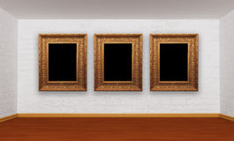 Room with picture frames Royalty Free Stock Image