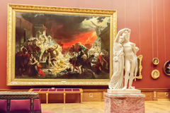 Room with picture of Karl Bryullov in State Russian Museum, St. stock photo