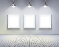 Room with pictures. Vector illustration. stock illustration