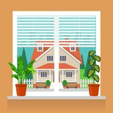 Room plants in pots on the windowsill. Blinds on the window, beautiful private house outside the window. Vector illustration in fl. At style Royalty Free Stock Photography