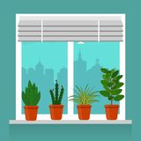 Room plants in pots on the windowsill. Blinds on the window, cityscape outside the window. Vector illustration in flat style. Room plants in pots on the Royalty Free Stock Photography
