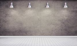 Room with plastered dark wall and lamps. 3D rendering royalty free illustration