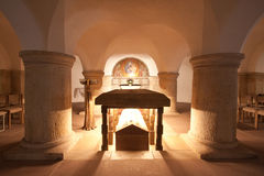 The crypt, a room for prayers Stock Images