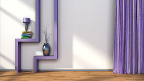 Room with purple curtains and shelf with lamp. 3D illustration Royalty Free Stock Photos