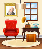 Room with red chair and gramophone vector illustration