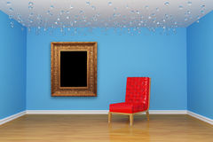 Room with red chair and picture frame. Empty room with red chair and picture frame Stock Photo