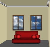 Room with Red Couch Stock Image