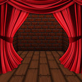 Room with red curtains Royalty Free Stock Photo