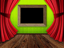 Room with red curtains and frame Royalty Free Stock Photos