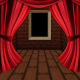 Room with red curtains and frame. Room interior with wooden photo frame and opened red curtains Stock Image