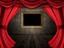 Room with red curtains and frame Stock Photography