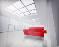 Room with red sofa Stock Images