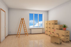 Room during relocation with moving Royalty Free Stock Photography
