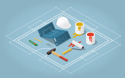 Room renovation concept. Isometric vector apartment room renovation illustration. Toolbox set: blueprint plan of room, buckets with paint, paint roller, helmet Royalty Free Stock Photography