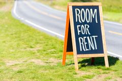 Room for rent road sign in Norway. Scandinavia, Europe. Travel by car stock image