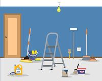 Room repair in home. Cleaning in the apartment after walls painting. Vector flat illustration Stock Photography