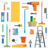 Room repair in home. Room repair in home icons. Interior renovation in apartment and house. Flat style vector illustration Stock Image