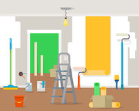 Room repair in home. Interior renovation in apartment and house. Flat style vector illustration Stock Photography