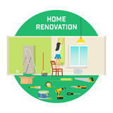 Room repair in home. Interior renovation in apartment and house. Flat style vector illustration. Stock Photo