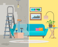 Room before and after repair. Home interior renovation. Flat style vector illustration Stock Photo