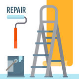 Room repair in home. Interior renovation. Hang wallpaper. Flat style vector illustration Royalty Free Stock Image