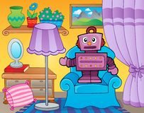 Room with retro robot Stock Images