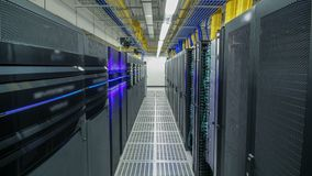Room with rows of server hardware in data center timelapse hyperlapse. Modern equipment in special room stock footage