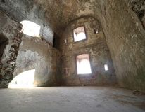 Room of the ruins of an ancient fortess used by soldiers during. The First World War near the town of Asiago in Italy royalty free stock photography