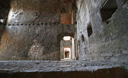 Room of the ruins of an ancient fortess used by soldiers during. Inside of an ancient fortess used by soldiers during the First World War near the town of Asiago royalty free stock photos