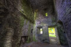 Room Ruins in Castle Walls Stock Photos