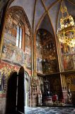 Room with sacred art in the cathedral of Prague. Sacred art paintings in the cathedral of Prague stock photo