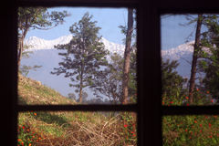 Room with a  scenic himalayan mountain view india. Room with a View. Pine forest and picturesque snow peaked himalayan  window view... as seen from Palampur Stock Images