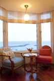 Room with sea view. A hotel room with sea view Stock Photography