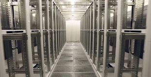 Room for servers in the data center. Modern technologies stock image