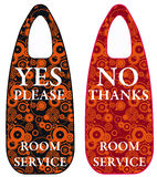 Room service. Door labels for wanting or declining room service in hotels Stock Photography