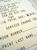 Room Service Bill. This is an image of a breakfast room service bill royalty free stock photo