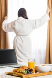 Room service breakfast on a tray. In the hotel Stock Photography