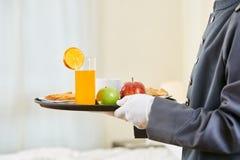 Room service bringing healthy breakfast Royalty Free Stock Photo