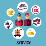 Room service flat design concept Royalty Free Stock Photo