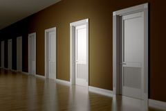 A room with seven doors to choose. 3d rendering of a room with seven doors to choose Stock Image