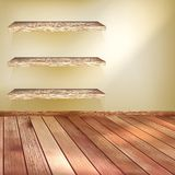 Room with the shelfs and wooden floor. EPS 10 Royalty Free Stock Images