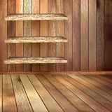 Room with the shelfs and wooden floor. EPS 10 Royalty Free Stock Photography